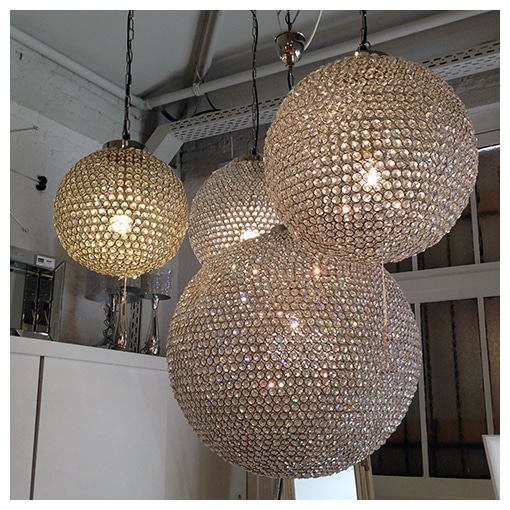 Pendant lamp art deco crystal